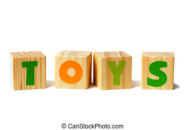 Wooden blocks with TOYS word