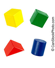 Wooden Blocks - Wooden toy blocks isolated against a white ...