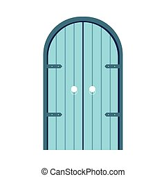 Wooden blue front door with double arch shape isolated on white background