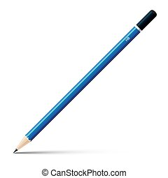 Wooden blue sharp pencil isolated on white background.