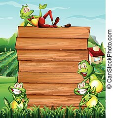 Wooden board and frogs in the field illustration