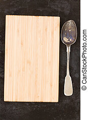 wooden board and spoon