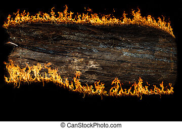 wooden board, burning