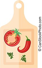 Wooden board for cutting vegetables with peppers and tomato icon, flat style. Isolated on white background. Vector illustration.