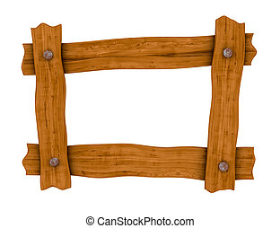 wooden board frame - one frame made with four wooden boards...