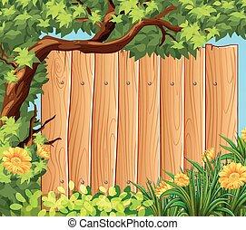 Wooden board in the garden