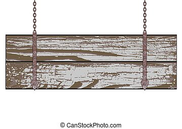 Wooden board - Old wooden board with rusty chain. Vector...