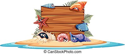 Wooden board on island with seashells