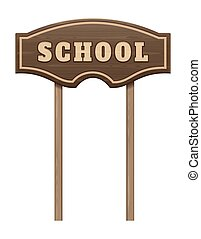 Wooden board pointer with the inscription school - Wooden ...