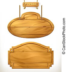 Wooden board, sign vector