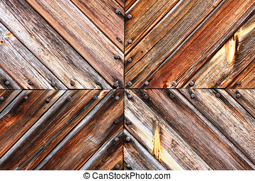 Wooden board tile and rusty nails heads - Slant, converging...
