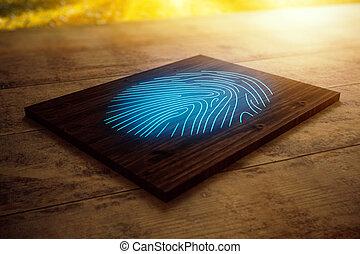 Wooden board with blue fingerprint
