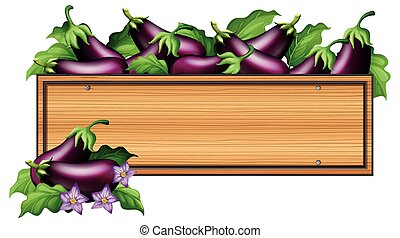 Wooden board with eggplants