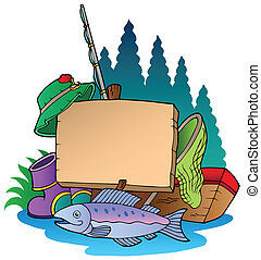 Wooden board with fishing equipment - vector illustration.