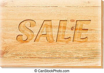 Wooden board with sale text isolated over white.