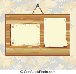wooden board with sheet of paper