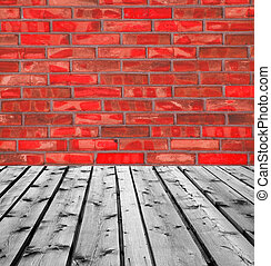 Wooden boards and red brick wall