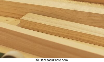 wooden boards at workshop or woodworking plant - production,...