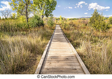 wooden boardwalk across wetland - nature trail - wooden ...
