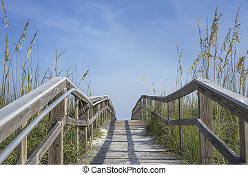 Wooden Boardwalk Path to Summer Fun - View looking up an ...