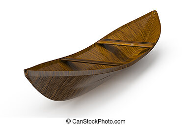 wooden boat isolated on white background. 3d rendered image