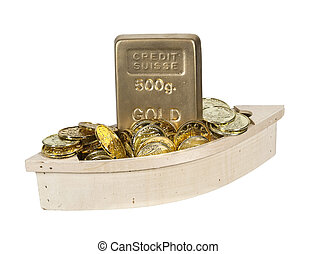 Wooden Boat Filled with Gold Coins