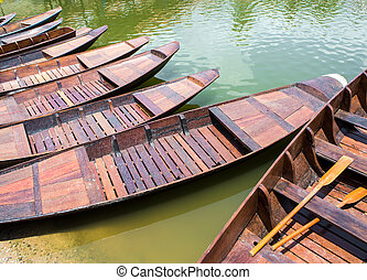 Wooden boat float in lake