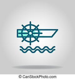 wooden boat icon or logo in  twotone - Logo or symbol of ...