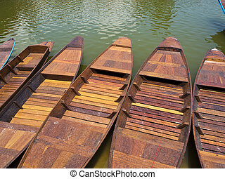 Wooden boat in lake