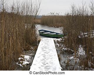 Wooden Boat In Winter