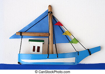 Wooden Boat on a Picture Board
