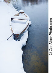boat on the Bank of winter river