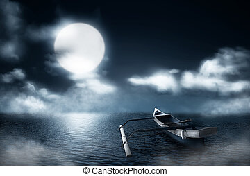 Wooden boat on the misty lake