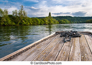 Wooden boat prow on Rhine river