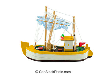 Wooden boat ship model isolated on white
