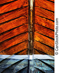 Wooden boat stern closeup