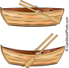 Wooden boat - Vintage wooden boat with paddles on white...