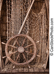 Wooden boat wall composition with fishing net andvitage ship...
