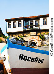 Wooden boat with inscription in Bulgarian (meaning Nessebar)