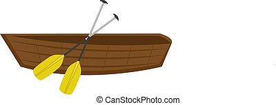 Wooden boat with paddles. icon flat, cartoon style. Isolated on white background. Vector illustration, clip-ar.