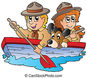 Wooden boat with scout boy and girl - vector illustration.