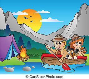 Wooden boat with scouts near camp - vector illustration.
