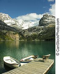 Wooden boats at Lake O'Hara, Yoho National Park, Canada