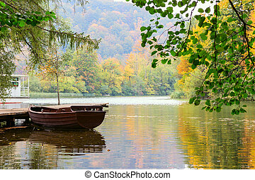 Wooden boats in Plitvice Lakes National Park