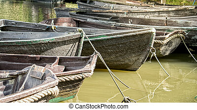 Wooden boats on a river