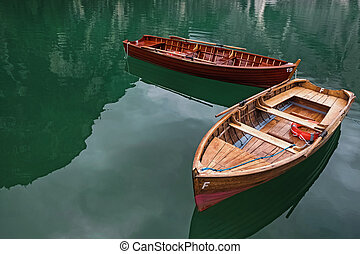 Wooden boats on the beautiful lake
