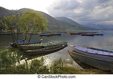 Wooden boats on the lake, Nepal