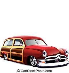 vectorial image of old-fashioned car with wooden body, isolated on white background. File contains gradients and blends. No strokes.