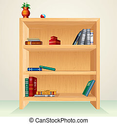 Wooden Bookcase - Bookcase with books, magazines and other...