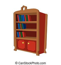 Wooden bookcase cartoon icon